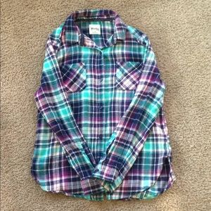 Mudd girls, mostly purple and torquoise button up